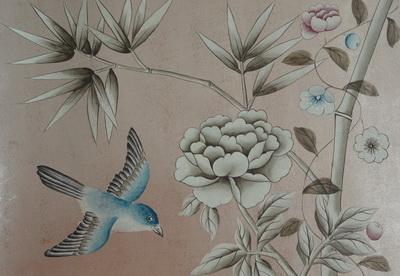王室 手绘真丝墙纸 银箔壁纸 纯手工真丝绘画壁纸 定制个性背景墙纸