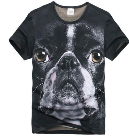 夏装美国斗牛犬图案 男装t恤 男短袖t桖 创意动物3d t恤欧美衣服