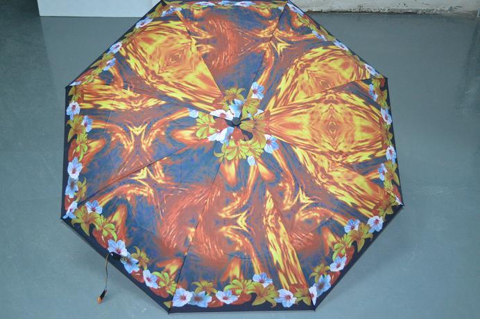 供给21寸三折雨伞花布遮阳伞深圳雨伞厂家定制创意三合告白太阳伞