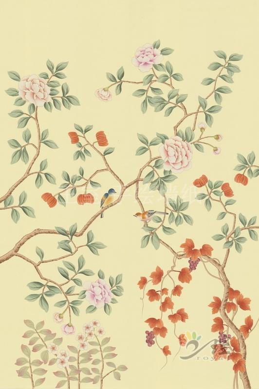 王室手绘墙纸厂家供应高端手绘丝绸墙纸图案精美批发价格欢迎定做