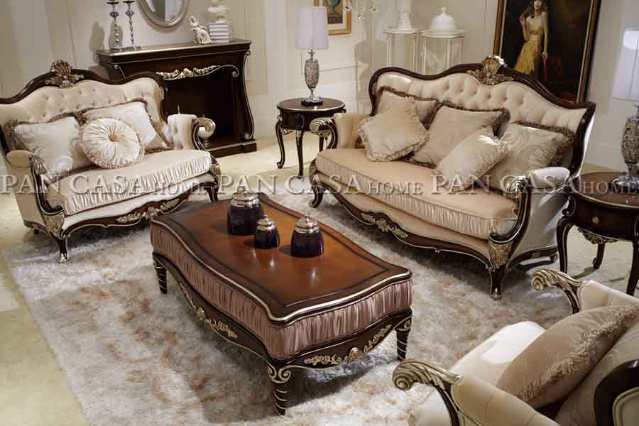 客厅别墅套房实木家具组合