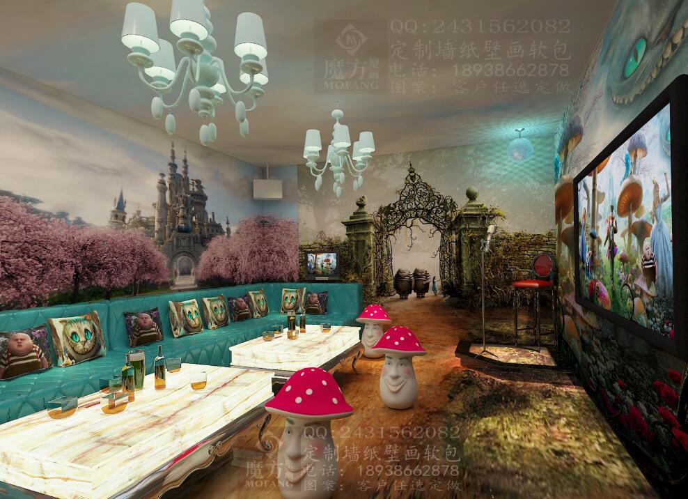 手绘墙画图片酒吧彩绘壁画厂家ktv卡通墙纸壁画爱丽丝梦幻壁纸欧洲