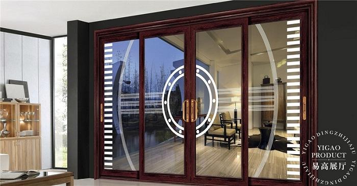 易高韩古典木色边框的玻璃阳台隔断门