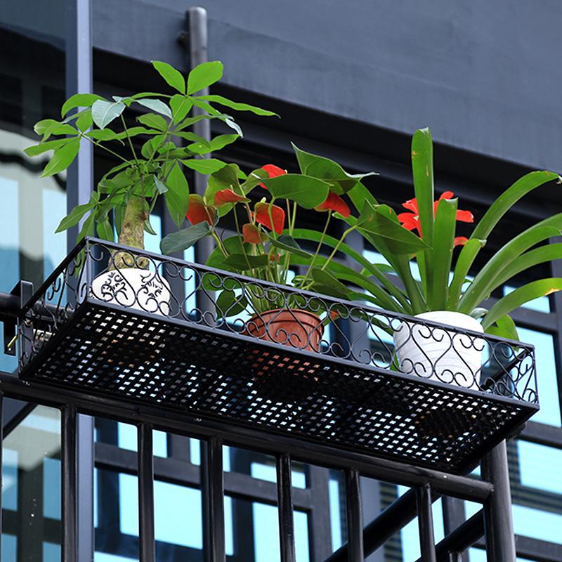 欧式栏杆花架 铁艺阳台悬挂花盆架