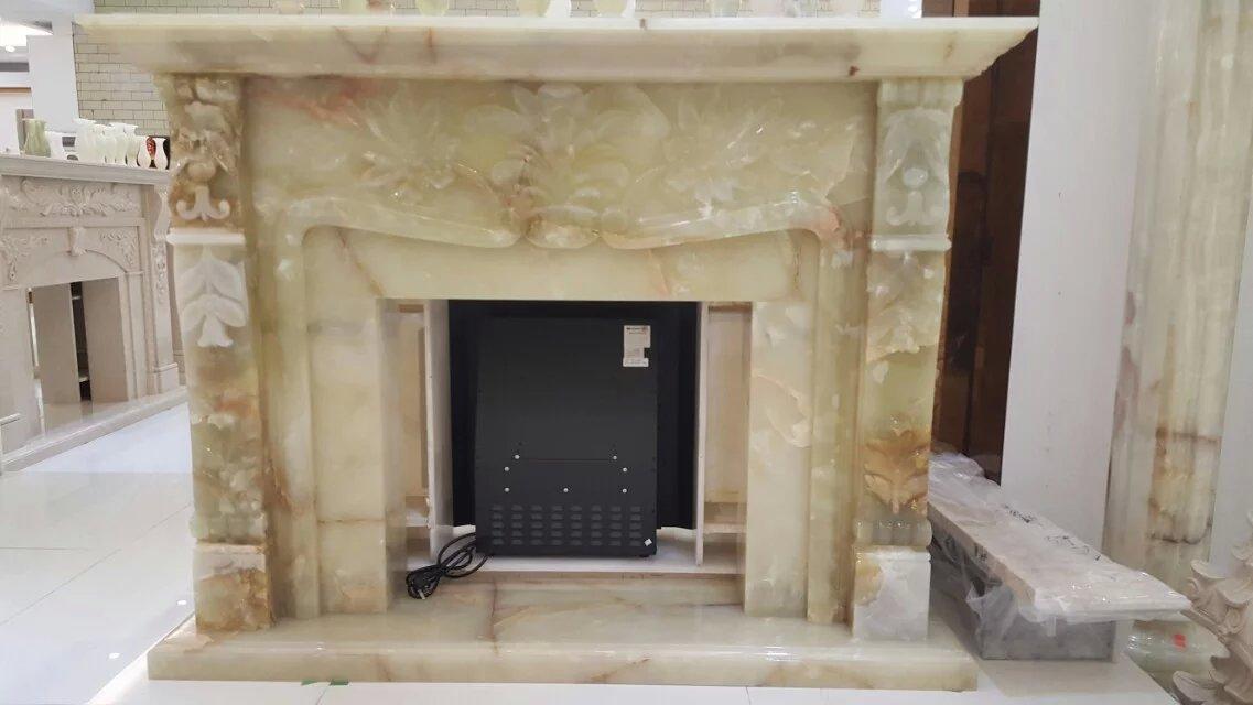 进口天然冰玉石欧式雕刻壁炉