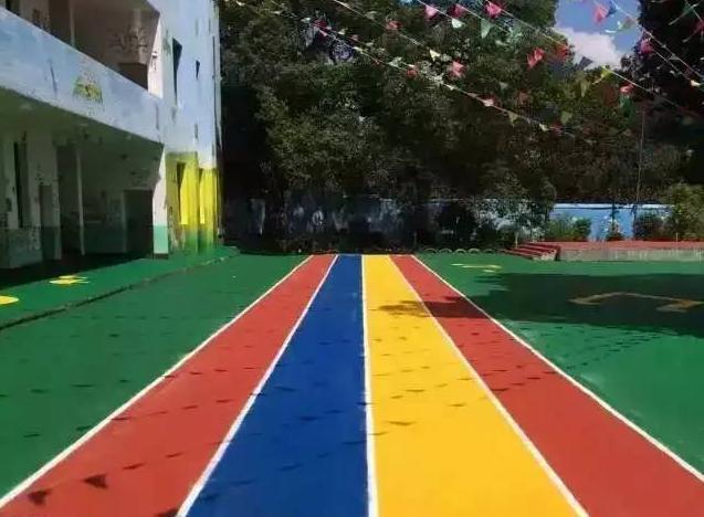 遂宁塑胶操场幼儿园epdm塑胶地坪彩虹跑道塑胶网球场