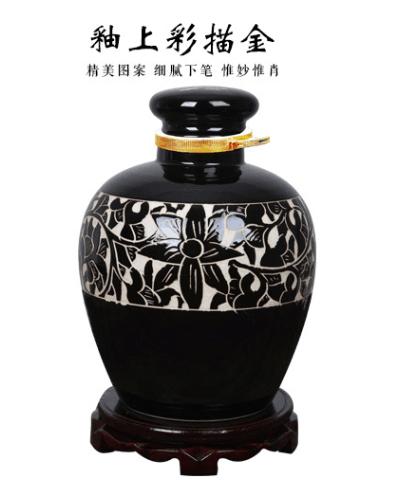 现货供应酒瓶 瓷器酒瓶 酿酒酒坛 黑色花纹图案酒坛20