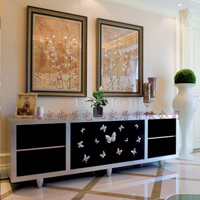 欧式电视柜/客厅欧式新古典电视机柜/金银箔实木家具/高级定制