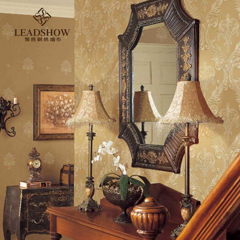 领绣欧式客厅电视背景墙绣花墙布 别墅刺绣墙贴定制