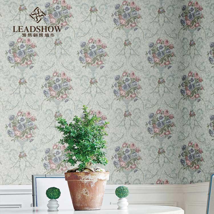 领绣欧式田园卧室复古大花背景墙印花刺绣墙布定制
