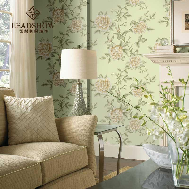 领绣中式唯美刺绣大花壁布定制 客厅背景墙无缝墙布
