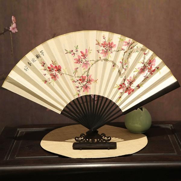 古风手绘荷花与竹子红木折扇礼品扇