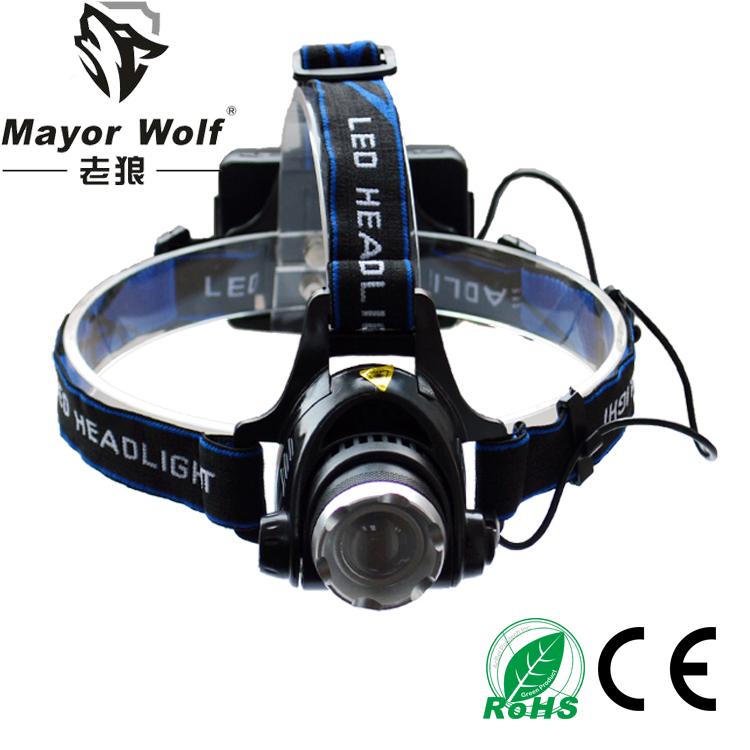 厂家批发led充电头灯户外远射打猎头戴灯锂电池头灯大功率头灯