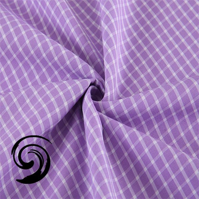 厂家天然抗皱环保浅紫色格子竹纤维休闲衬衣色织布面料t26-1652