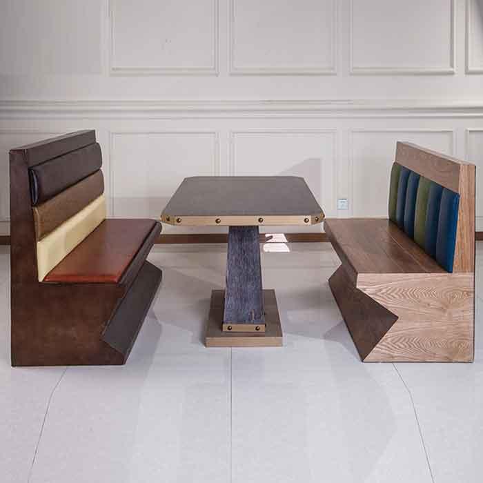 欧式复古铁艺卡座 实木书桌 咖啡茶餐厅深圳卡座组合