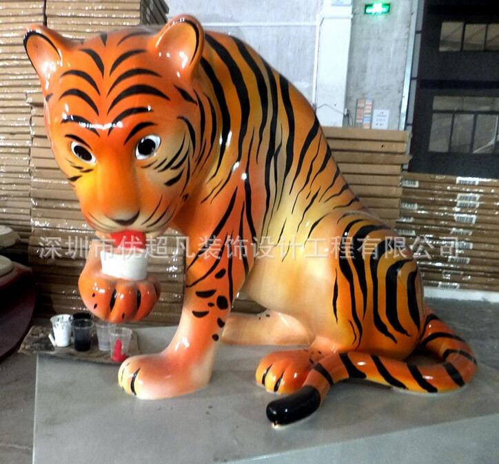 深圳杜克实业玻璃钢商场动物老虎雕塑摆件厂家