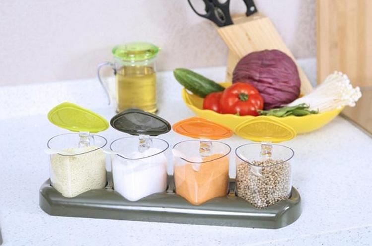 美特家厨房家居用品时尚之风四格调味盒,厨房必备家居图片