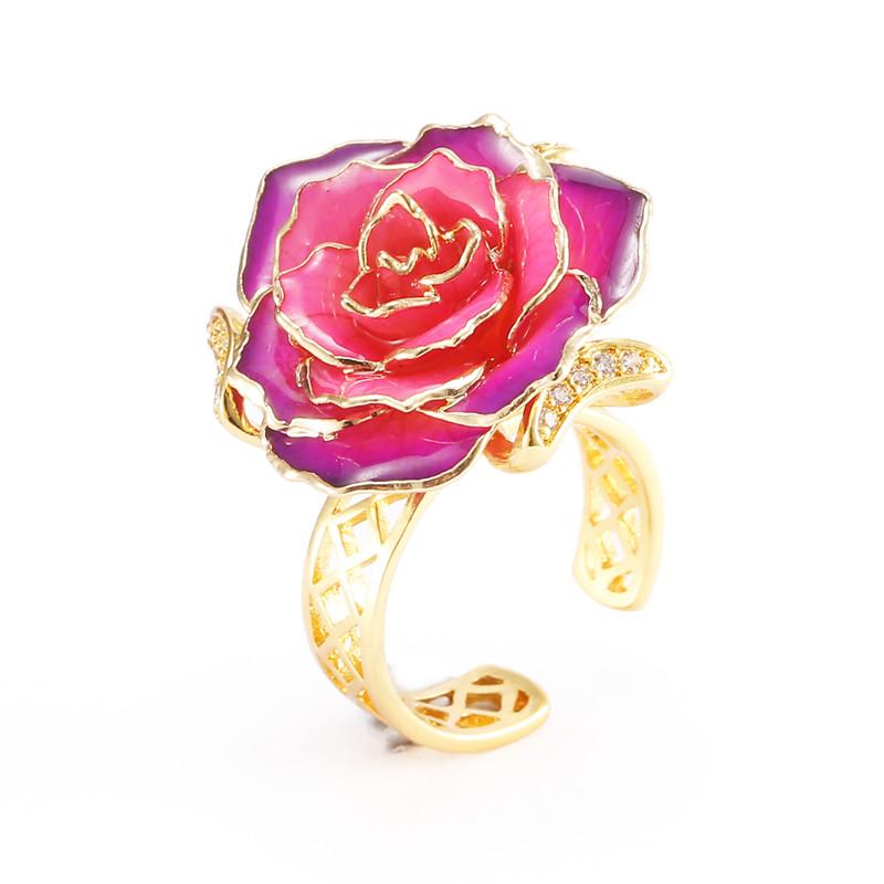 黛雅热卖镀金真玫瑰镶钻戒指 情人节生日创意时尚礼物图片
