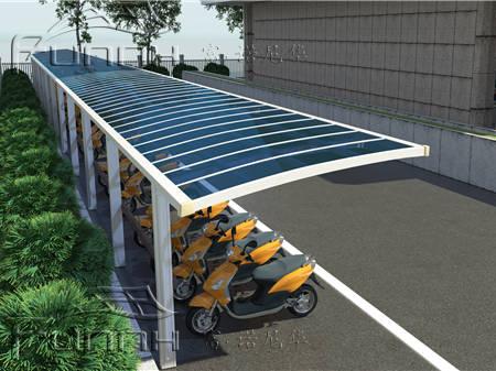 专业设计制作安装大型户外遮阳停车棚 小区膜结构电瓶车自行车棚铝图片