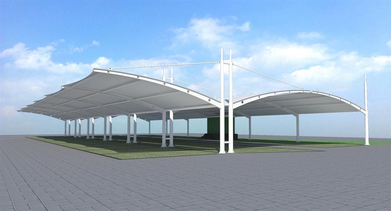 自行车遮阳棚立柱双开汽车棚产业园停车棚汽车停放棚