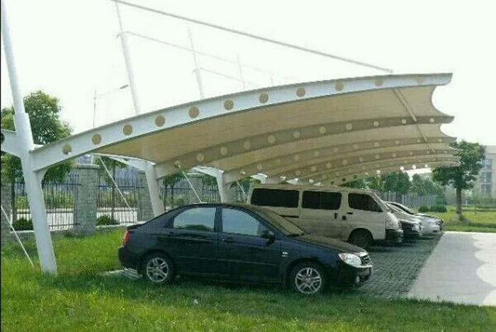膜结构汽车棚-膜结构自行车棚-汽车遮阳棚安装-膜结构