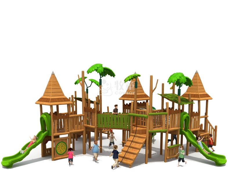 游乐园卡通游乐设施 幼儿园组合滑滑梯 木质大型滑梯