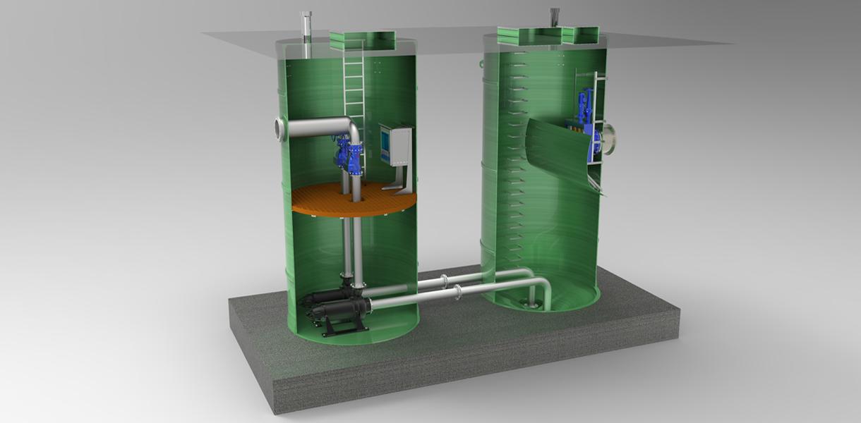 多罐体组合雨水泵站图片