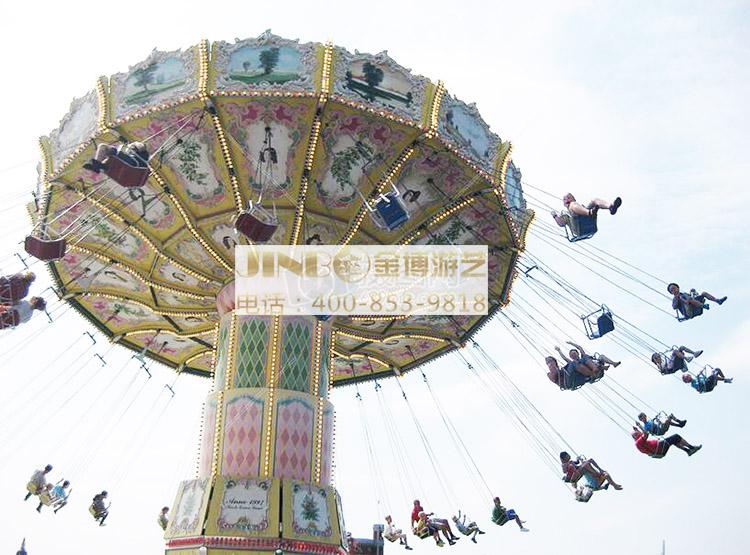 旋转飞椅游艺设备是飞行塔类游艺机中的一个品种。这款游乐设备造型取意新、气势雄伟、壮观、趣味性强,融惊险性与趣味性为一体。乘客在悬挂的座椅中随着回转盘倾斜回转和中心转体的相对转动,飞上旋下,好不惊险刺激,亲身一试方能体验它的无穷乐趣。旋转飞椅像是一把能摇头的大伞下吊着很多把靓丽、精致、安全的吊椅,在大伞转动(或摇头)时,吊椅在空中波浪起伏地旋转飞舞。