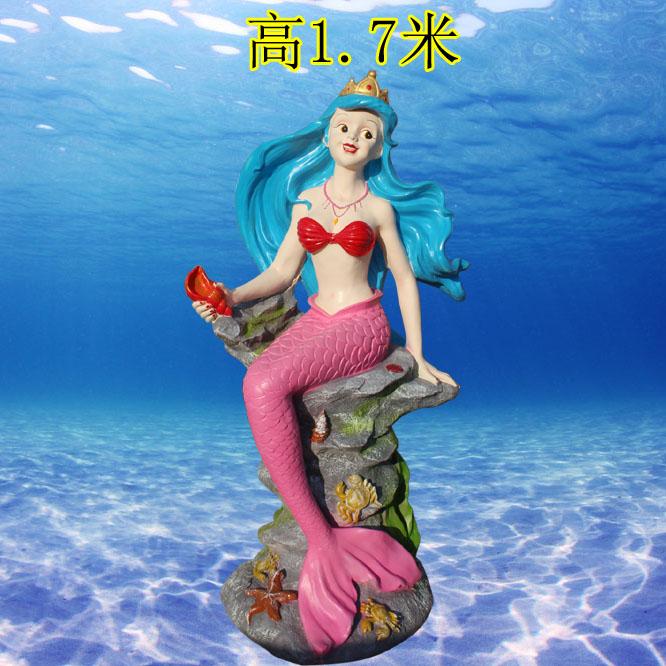 玻璃鋼彩繪美人魚雕塑仿真海洋動物雕塑幼兒園庭院