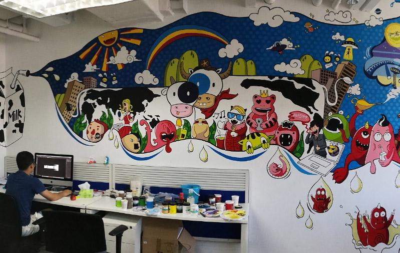 南宁幼儿园墙绘酒店彩绘沙发背景墙彩绘文化墙彩绘画画