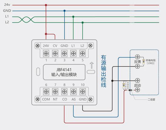 jbf4141输入输出模块/北大青鸟jbf4142控制模块   二,常见设备接线图