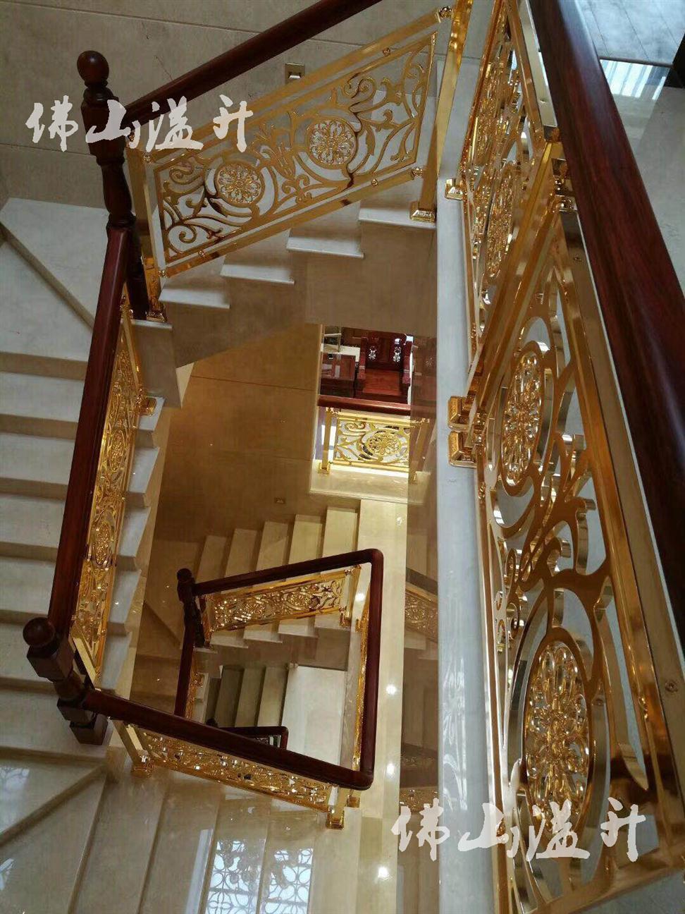 鞍山中式别墅铝雕花楼梯扶手