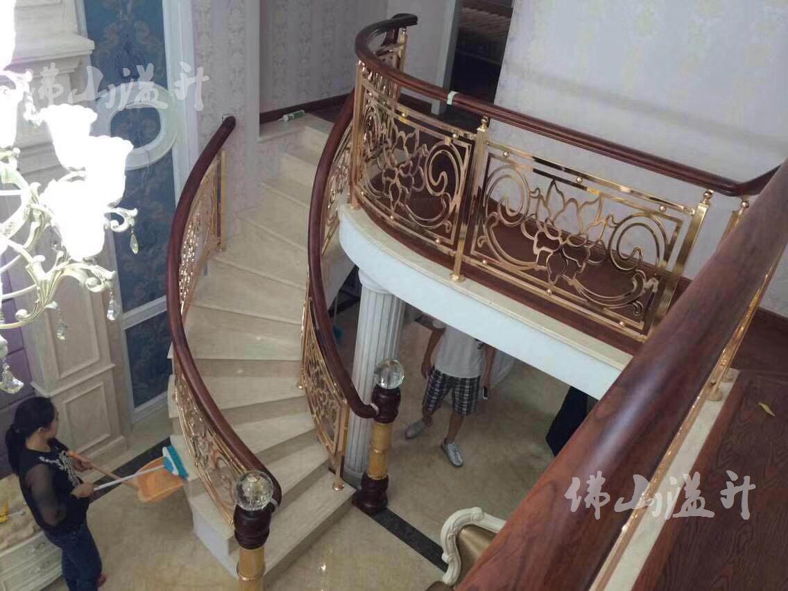 惠州古典别墅铜艺楼梯扶手