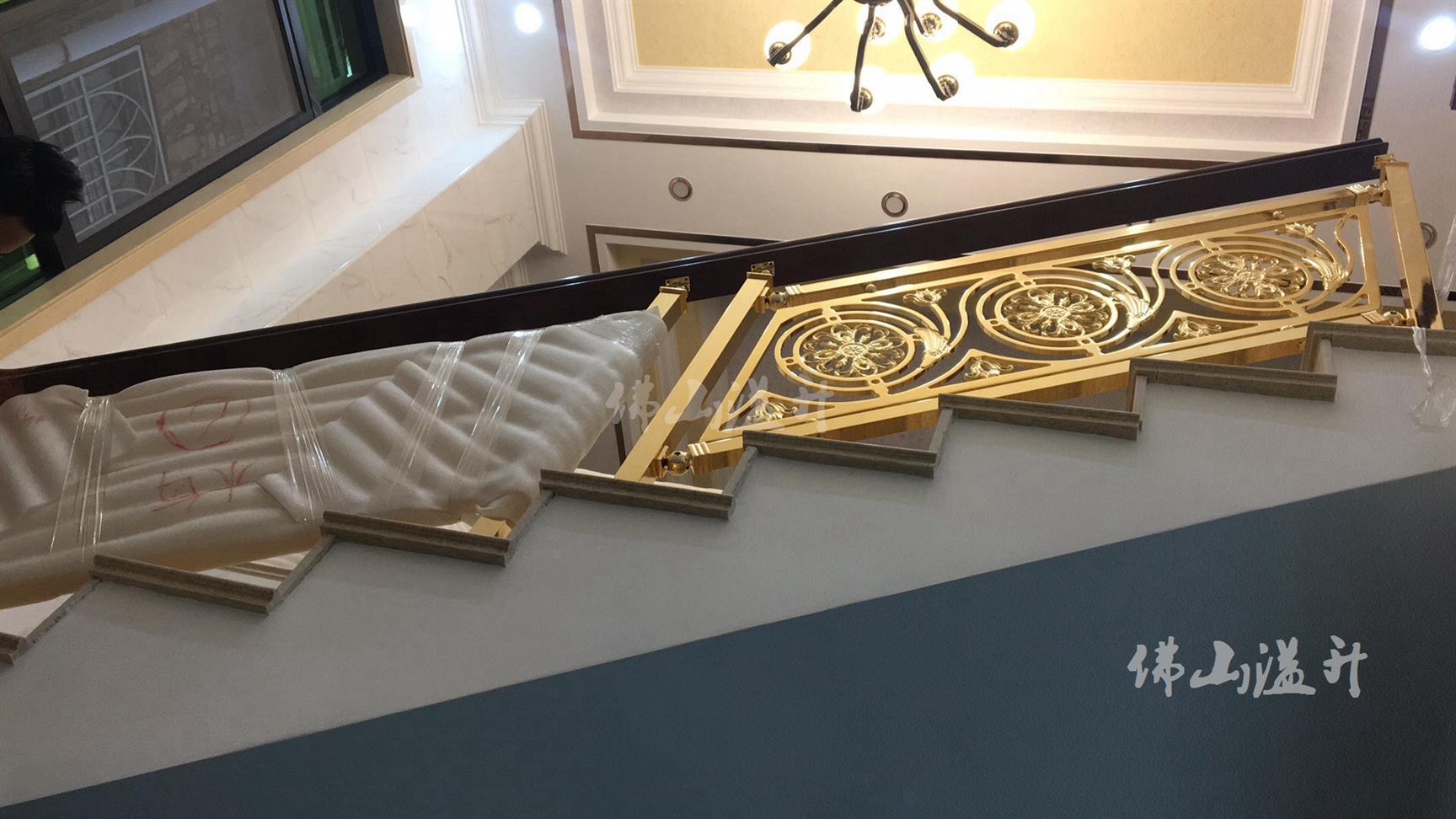 上海K金铜楼梯扶手护栏