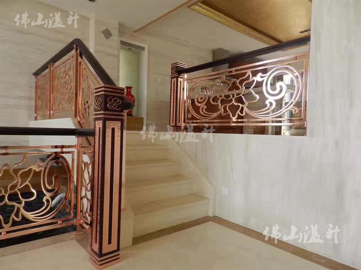 包头典雅全铜镂空设计铜艺楼梯扶手厂家
