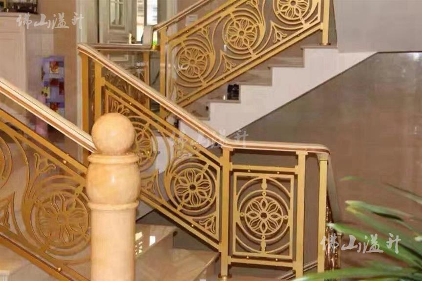 广州玫瑰金拉丝全铜定制铜艺楼梯扶手定制