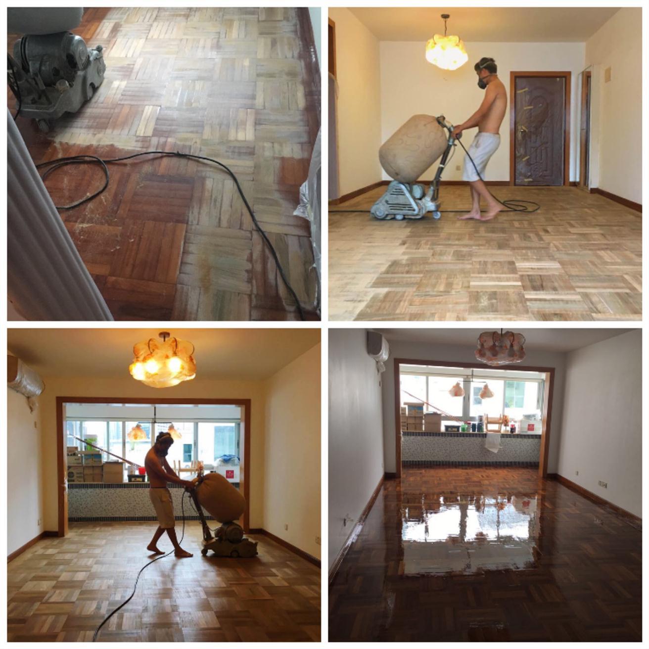宝体实木木地板翻新刷漆
