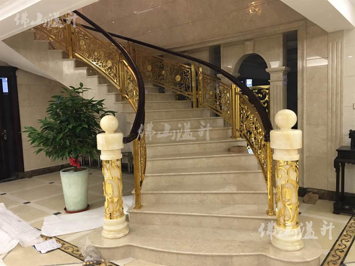 蚌埠完美全铜镂空设计铜艺楼梯扶手加工