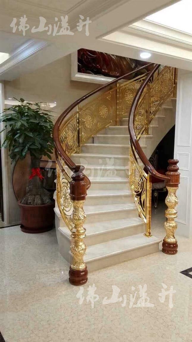 成都专业全铜镂空设计铜艺楼梯扶手厂