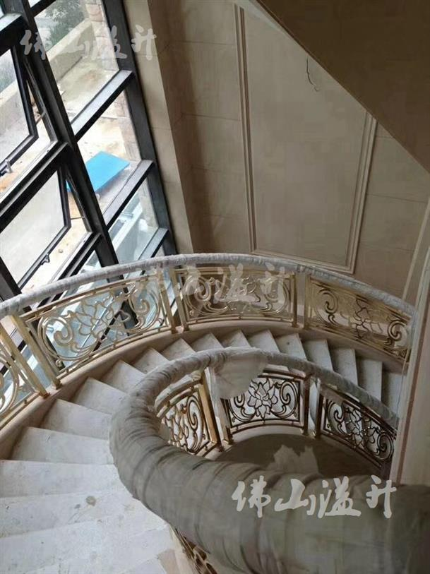 镀金全铜镂空设计铜艺楼梯扶手价格