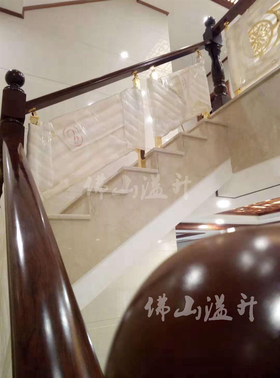 钛金全铜镂空设计铜艺楼梯扶手