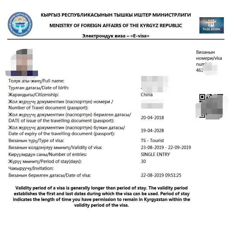 一手办理吉尔吉斯坦旅游电子签证 简单材料 专业办理