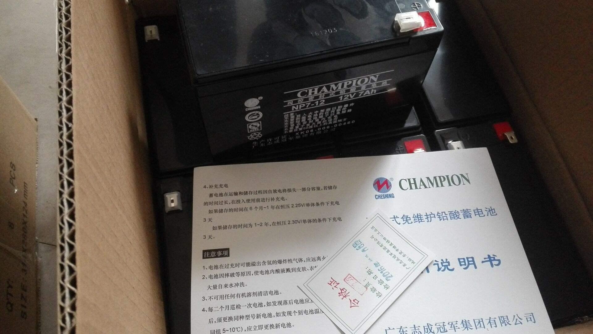 冠军蓄电池NP100-12足量电池