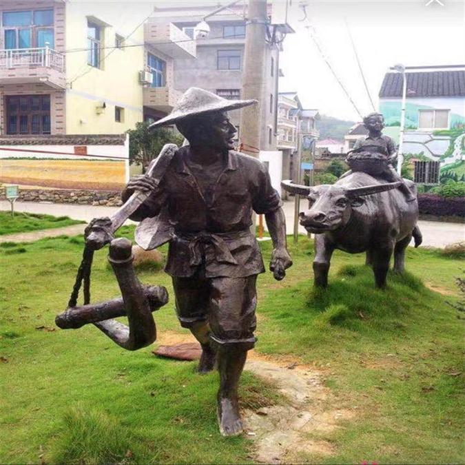 广州玻璃钢仿铜牛雕塑农耕主题造型