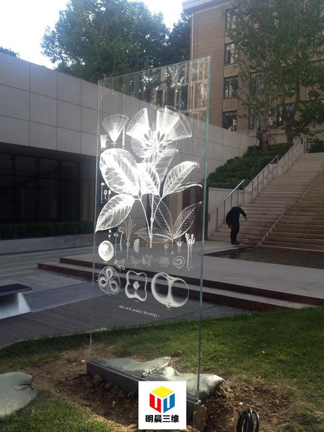 洛陽新奇玻璃激光內雕工藝明晨三維
