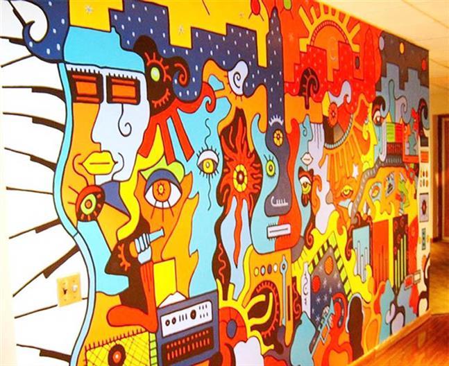 学校墙绘车