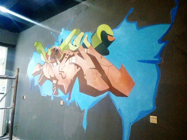 九龙彩绘墙绘