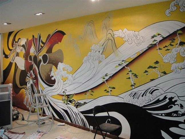 饭店墙绘花