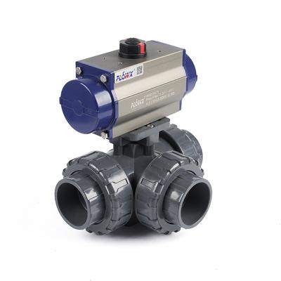 工业酸碱污水排放三通阀 UPVC三通自动化球阀 进口塑料三通球阀