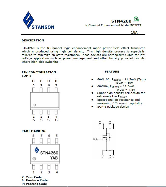 STANON STN4260 SOP-8 N60V 18A